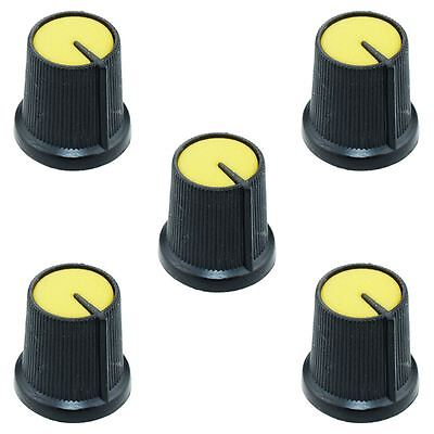 5 x Yellow 6mm Pointer Potentiometer Control Knob