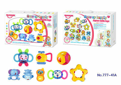 Baby Rattles Teethers Pram Rattles Toddlers Bed Cot Musical Rattles 8 Pieces Set