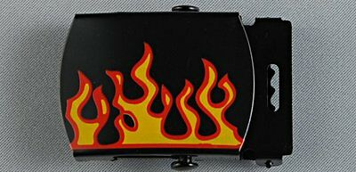 """Flames on black military buckle 32mm (1 1/4"""") wide  x 5 with tips"""