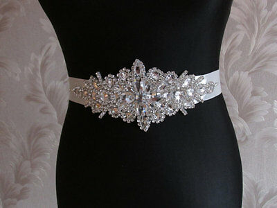 Crystal Wedding Belt, Ivory Wedding Sash, Ivory Crystal Rhinestone Sash beaded