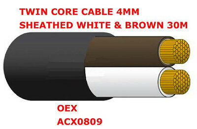 30m Roll Twin Core Cable 4mm Sheathed White & Brown 4mm x 30m 2 Core OEX ACX0809