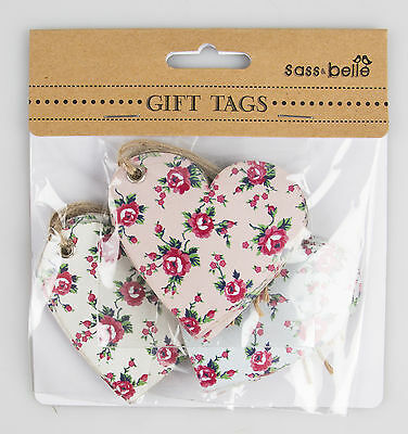 15 Heart Shaped Retro Vintage Petite Rose Floral Message Luggage Label Gift Tags