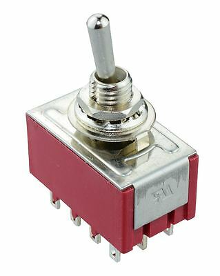 5 x On-Off-On Mini Miniature Toggle Switch 4PDT