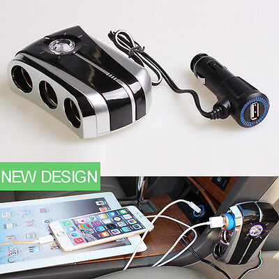 Auto Car Cigarette Lighter Socket Splitter with USB Charger Power Adapter 3 Way
