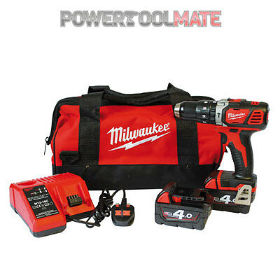 Milwaukee M18BPD-402C 18v Combi Hammer Drill, 2x 4Ah Batteries - c/w Bag