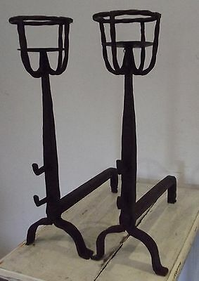 antique french pair landier also forged iron andirons called bowl cup Candle Hol