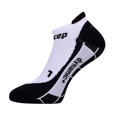 CEP Men's Dynamic+ No Show Compression Socks White-Black Size 5