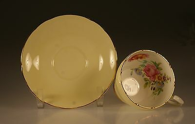 Paragon Pale Yellow with Pink Roses Cup and Saucer,  Made In England c. 1950s