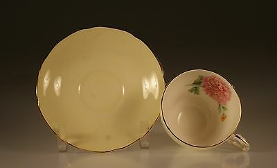 Paragon Pale Yellow with Pink Chrysanthemums Cup and Saucer England c. 1960's