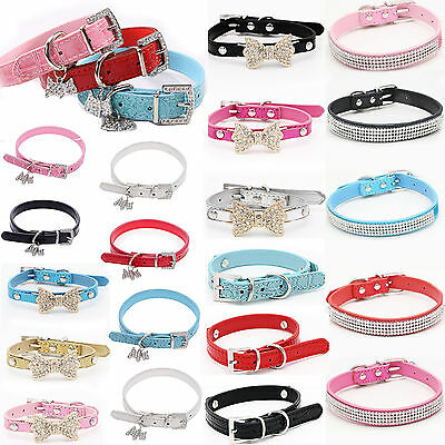 NEY Bling Rhinestone PU Leather Crystal Diamond Puppy Collar Pet Dog Cat Collar
