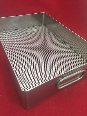 """Stainless Steel Instrument Tray w/Handles & Perforated Bottom 15""""x10.5""""x3.5"""""""