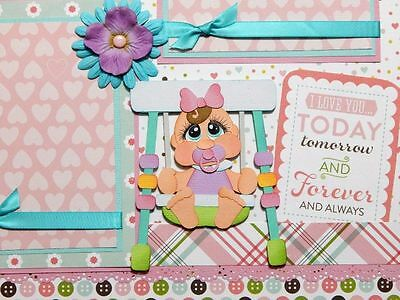 Baby Girl 2 premade scrapbook pages layout 12x12 for album paper piecing