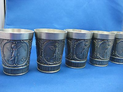 "Lot Five 3""Antique German Solid Pewter Embossed Engraved Cups 3 Scenes Nice"