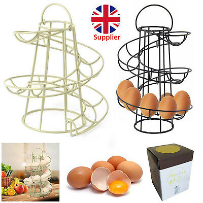 Kitchen Storage Spiral Helter Skelter 18 Egg Holder Stand Rack & Stainless Whisk