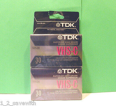 2 Tdk Superior High Grade Tc-30Hg Camcorder Video Cassette Tapes New