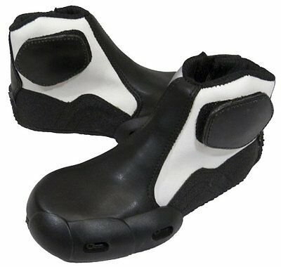 Childrens Kids Minimoto Bike Boots Ankle Childs Motorcycle Boot Black/White - T