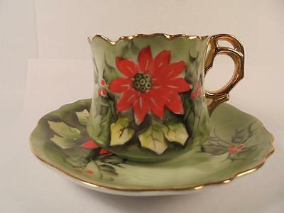 Vintage Lefton China Hand Painted Crimped Cup & Saucer Limited Edition 4392