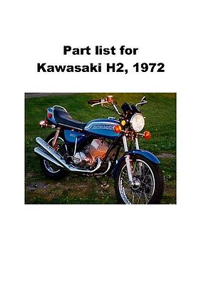 Kawasaki parts manual book 1972 Kawasaki H2 750 Triple