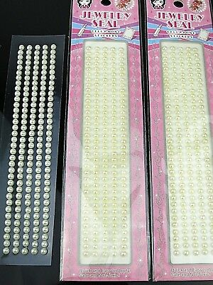 White Pearl Seal Self Adhesive Stick on DIY Handcraft Decal Pearls Gem Sticker