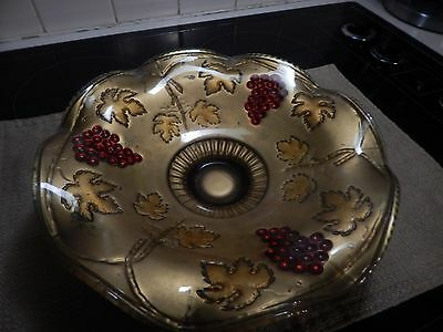 Antique Ftd Grape Clusters Goofus Glass  Bowl Red And Gold