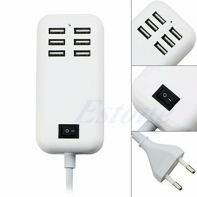 6-Port Multi-function USB Wall Charger Station Power Adapter for iPhone Samsung