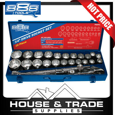 """888 Tools 27 Piece 3/4"""" Drive Socket Metric/SAE Wrench Set T820400"""
