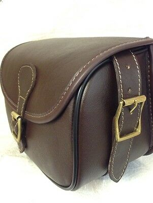 New Leather Cartridge Bag Beautiful Design With Hinged Lid + Brass Buckles. NN