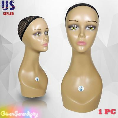 "Realistic Plastic Female MANNEQUIN head lifesize display wig hat 18"" C2"