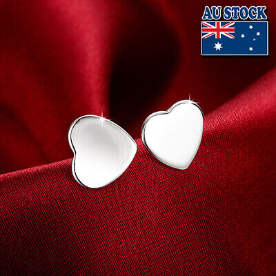 Classic 925 Sterling Silver Filled Solid Womens Love Heart Stud Earrings