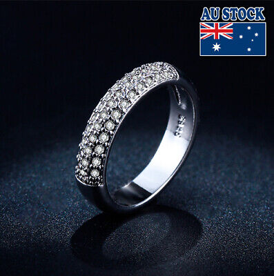 18K White Gold Filled Solid Classic Wedding Ring With SWAROVSKI Crystal