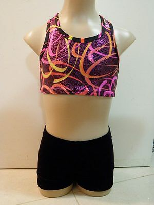 NEW PINK & ORANGE SWIRLS WITH BLACK VELVET CROP SET CS Sz 6 Gymnastics Leotard