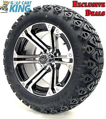 "14"" Madjax NITRO Machined/Black Wheel and 23x10-14 Golf Cart 4-PLY Tire Combo"