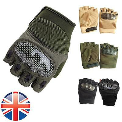 *UK Seller* Fingerless Paintball Airsoft Tactical Military Cycling Armour Gloves