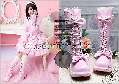 Punk Lolita baby doll 11-Hole Bows Studs Heel Boots 7.5/8 PINK 38 2068