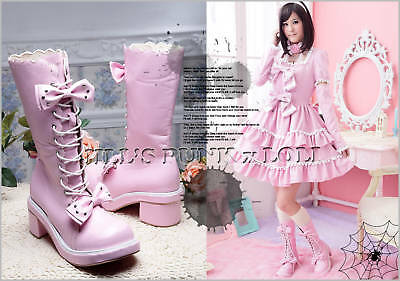 Punk Lolita baby doll 11-Hole Bows Studs Heel Boots 6.5/7 PINK 36 2068