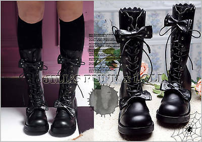 Punk Lolita baby doll 11-Hole Bows Stud Heel Boots 9/9.5 BLACK 41 2068