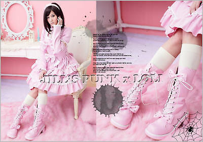 Punk Lolita baby doll 11-Hole Bows Studs Boots 9/9.5 PINK 41 2068