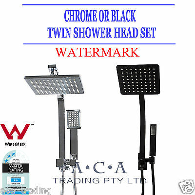Rainfall Handheld Shower Head Square Wall Arm Set Twin Taps Mixer Black/Chrome