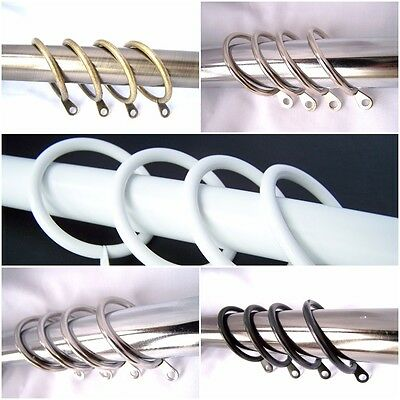 Chrome Brass Black White Stainles Steel Metal Curtain Pole Rings 19mm 28mm 35mm