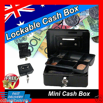 METAL CASH BOX STEEL LOCKABLE SAFE PETTY CASH MONEY TIN BLACK Coins Notes Stamps