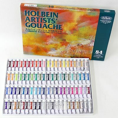 New Holbein Artists Gouache Opaque Watercolor 84Colors Set 15ml Tube F/S