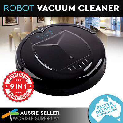 9 in 1 Vacuum Cleaner LED Robotic Automatic Recharge Floor Wet Dry Robot Black
