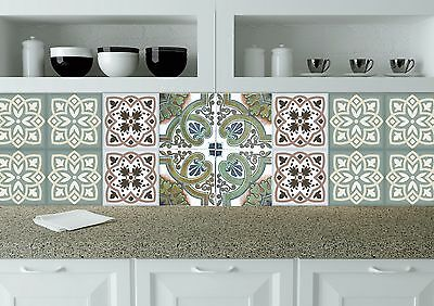 Vintage Tiles Stickers 24 PC Set Retro Kitchen Decals wall decal Tile Art NA22