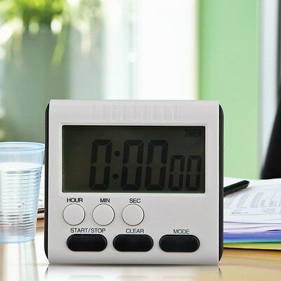 Magnetic Large LCD Screen Digital Kitchen Timer Alarm Count Up Down Clock 24Hour