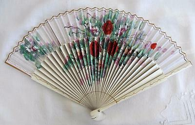 VINTAGE 1950's WHITE HAND PAINTED WOOD & FABRIC FAN - FLOWERS