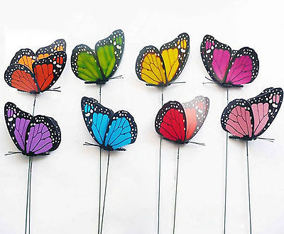 Lot 50 Colorful 3D Artificial Iron Wire Butterfly for Weeding Decoration 12cm