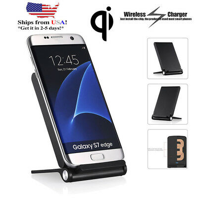 Qi Wireless 3 Coils Fast Charger Charging Stand Holder Dock for iPhone 8 Samsung