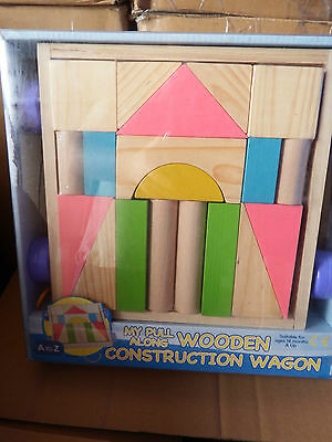 My Pull Along Wooden Construction Wagon Toy