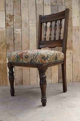 Vintage Arts & Crafts Solid Oak Wooden Sprung Hallway Occasional Chair