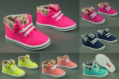 Girls canvas shoes high ankle trainers baby toddler size 3.5 - 11UK - NEW!!
